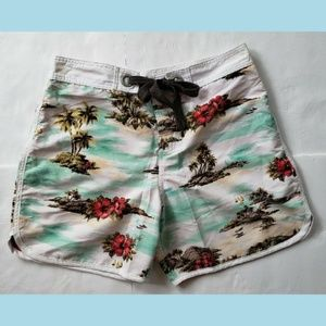 ROCKETLIPS Mens Boardshorts Tropical Print Size 34